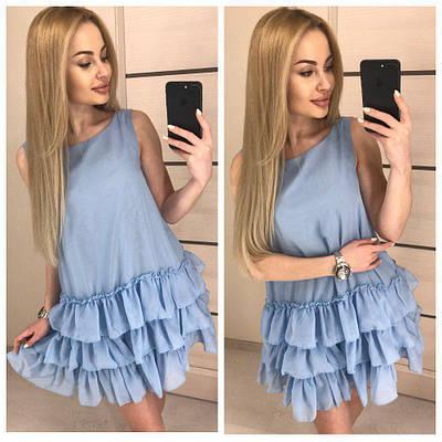 Свободное летнее платье с воланами