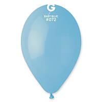 """Воздушные шары 10""""(25 см) 072 Голубой пастель В упак: 100шт. ТМ """"Gemar"""" Италия"""