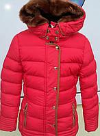 Куртка зимняя польская для  девочек укороченная кораллового цвета