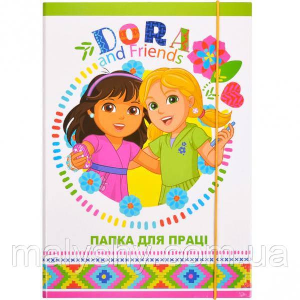 Папка для труда А4 ламинированная на резинке DORA зеленая / папка для праці на гумці ДОРА