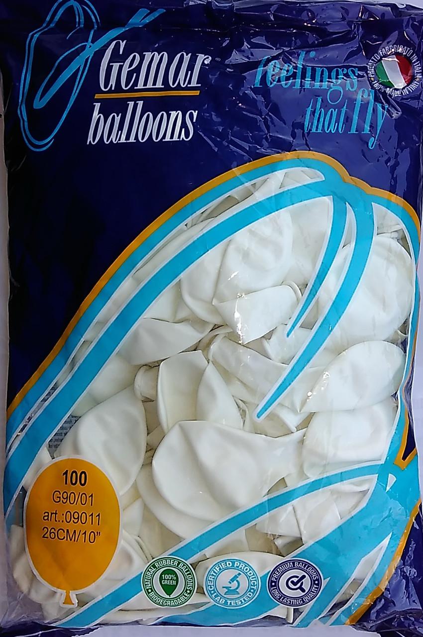 """Воздушные шары GEMAR G90 10""""/26 см пастель (белый)"""