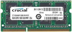 "Оперативная память Crucial SODIMM DDR3L-1600 8192MB PC3L-12800 (CT102464BF160B) ""Over-Stock"""