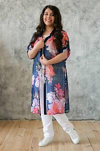 Платье-рубашка из шифона для полных Дерил