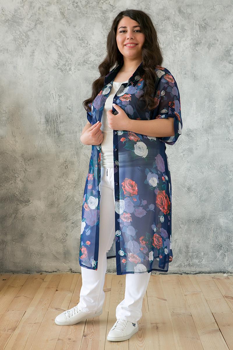 16efb1fb75469c2 Летний легкий кардиган-рубашка для полных женщин Дерил (58-62), цена ...