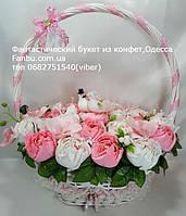"""Свадебный конфетный букет""""Пара белых голубей-символ семейного благополучия"""", фото 1"""