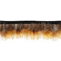 Перья декоративные фазана N7 Серо-желтые на ленте 5 см/50 см, фото 1