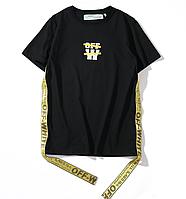 Чёрная футболка Off white (офф вайт с ремнями)