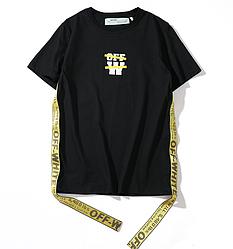 Чёрная футболка Off white (офф вайт с лампасами мужская женская)