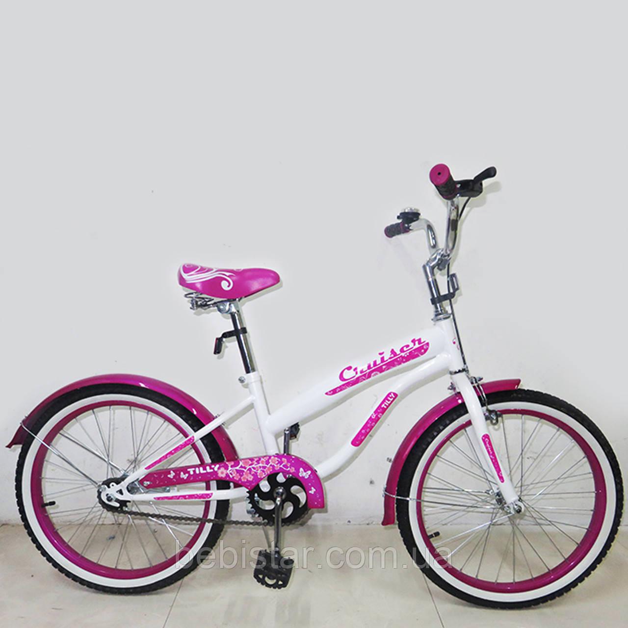 """Дитячий двоколісний велосипед TILLY 18"""" T-21831 для дітей 5-7 років, білий"""