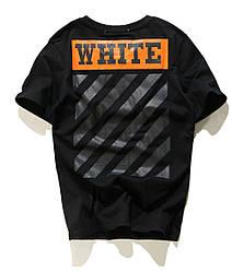 Футболка Off white чёрная (с оранжевым принтом офф вайт мужская женская)