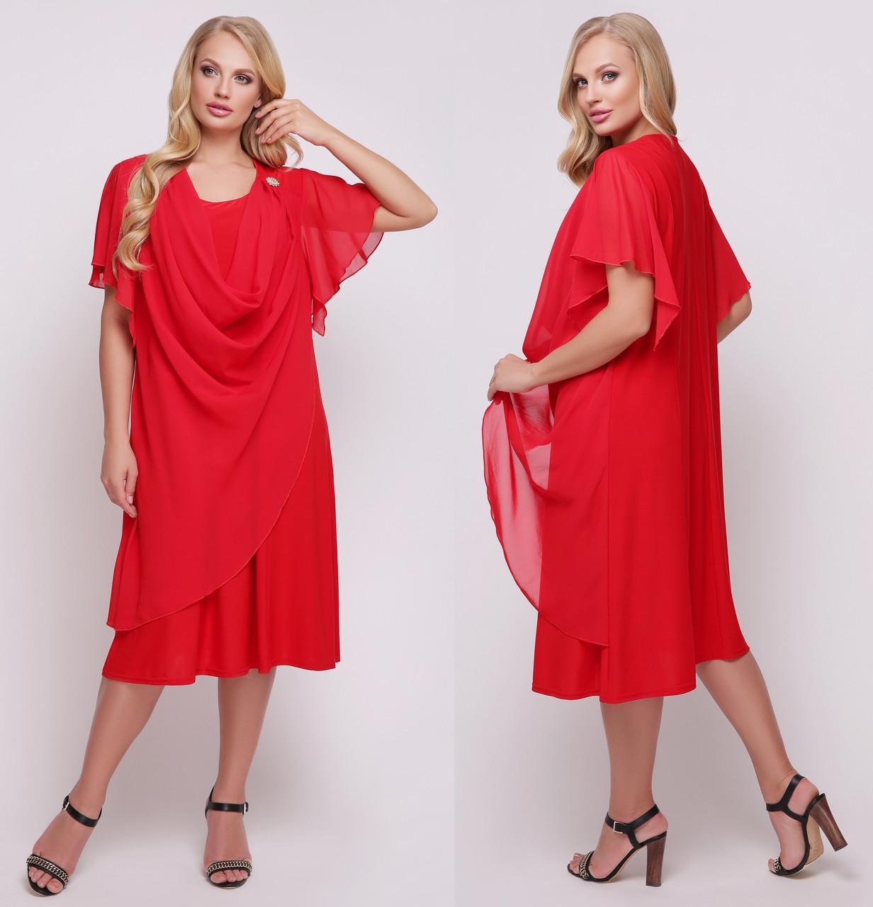 473caceb690 Шифоновое платье больших размеров женское летнее (батал) трикотаж масло с  шифоном
