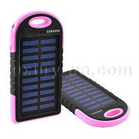 Power Bank SAMSUNG ES500 8000mAh 2USB(1A+1A) с солнечной батареей, индикатор заряда, фонарик 1LED -142 (3000)