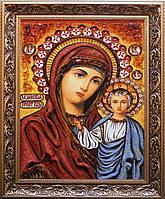 Казанська ікона Божої Матері з бурштину