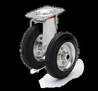 Колеса и ролики для тележек с контактным слоем из черной и серой стандартной резины.