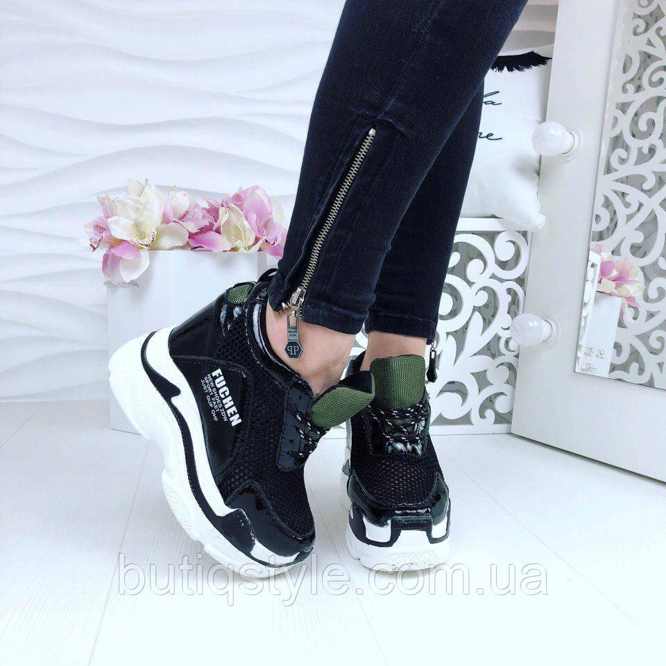 Женские черные кроссовки эко лак+сетка