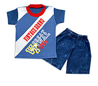 Летний костюм на мальчика с джинсовыми шортами Турция 1-3года