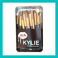 Набор кистей для макияжа Kylie большие черные 12 шт!Опт