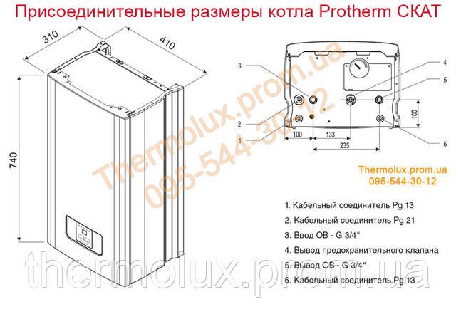 Размеры присоединительных патрубков электрического котла Protherm СКАТ