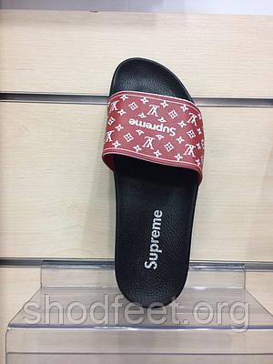 Мужские шлепанцы Louis Vuitton Supreme Black Red  продажа, цена в ... 388c67f8fc6