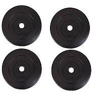 Диски (блины) для гантелей и штанги, 4 по 5 кг, битумные, d-30мм