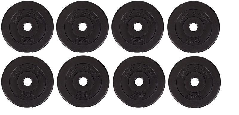 Диски (блины) для гантелей и штанги, 8 по 2,5 кг, битумные, d-30мм