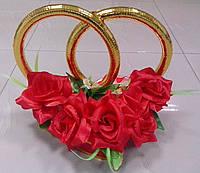 """Кольца на свадебную машину """"Розы"""" (красные)"""