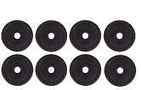 Диски (блины) для гантелей и штанги, 8 по 1,25 кг, битумные, d-30мм