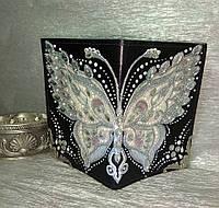 """Обложка на паспорт """"Бабочка"""" в стиле точечной росписи"""