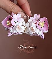 """Серьги с цветами """"Тюльпаны с фрезиями и гортензиями"""", фото 1"""