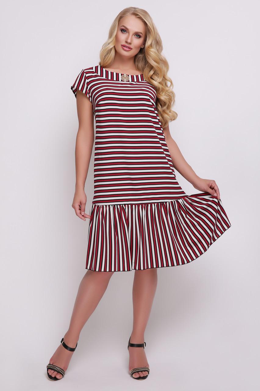b69124b3cd9 Свободное летнее платье для полных женщин Яна полоска - V Mode