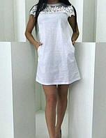 Платье с кружевом коттоновое женское, фото 1