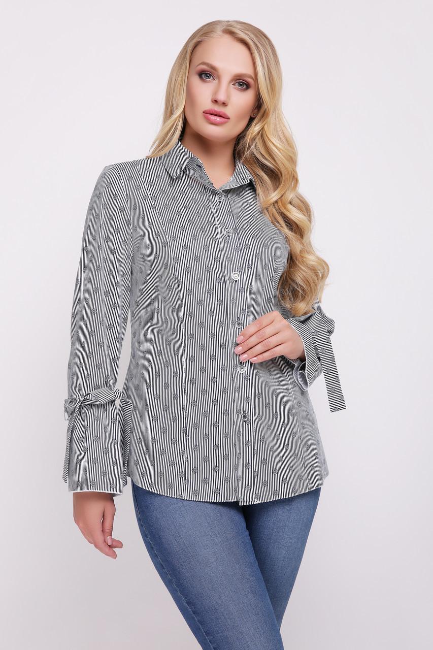 75cf87e547e Женская рубашка больших размеров из хлопка Агата полоска - V Mode