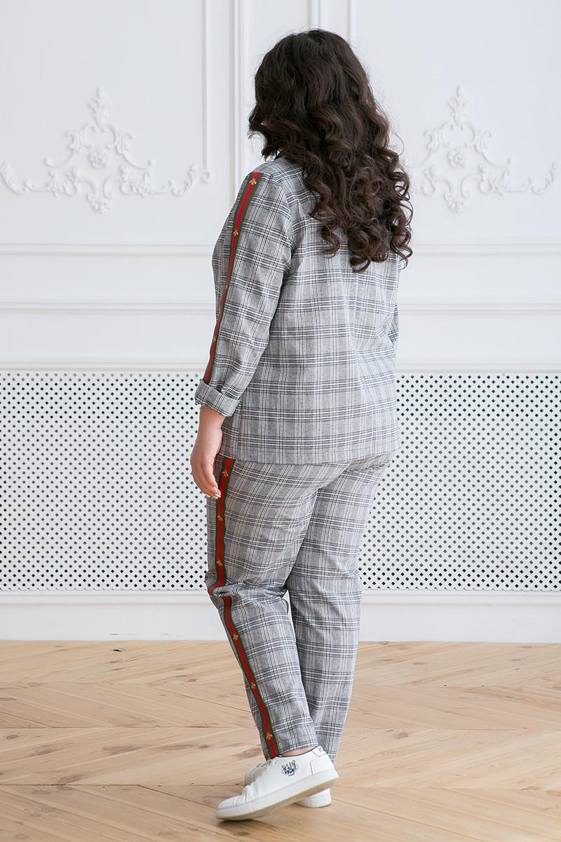 50ce95f7c6e Женский костюм с брюками для полных женщин Арин клетка