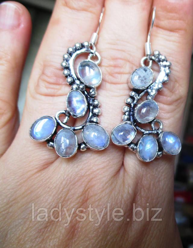 серебряные серьги украшения из серебра натуральный лунный камень купить