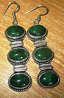 Серьги серебряные с натуральным зеленым авантюрином