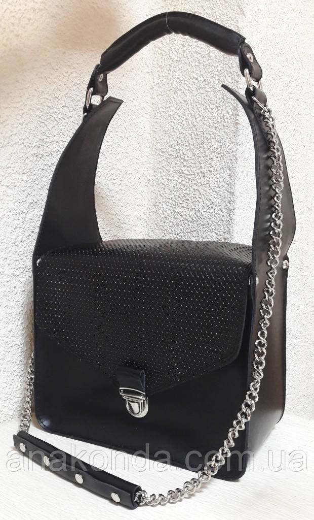 350 Натуральная кожа, ОБЪЕМНАЯ каркасная сумка женская, черный