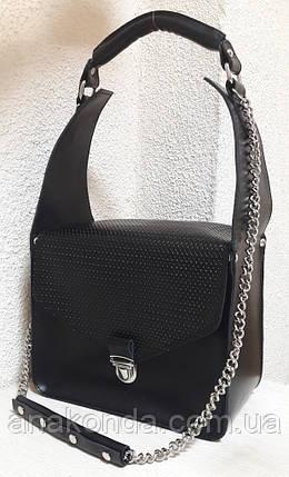 350 Натуральная кожа, ОБЪЕМНАЯ каркасная сумка женская, черный, фото 2