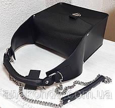 350 Натуральная кожа, ОБЪЕМНАЯ каркасная сумка женская, черный, фото 3