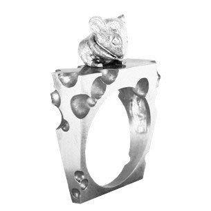 Кольцо мужское серебряное Мышь и Сыр