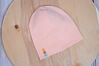 Весенне-осенняя детская шапочка с пуговками для девочки с 6 мес. (3 размера, 42-54 см) ТМ MagBaby Персиковый