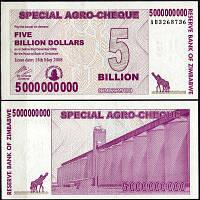 Зімбабве 2008 рік 5000000000 доларів UNC