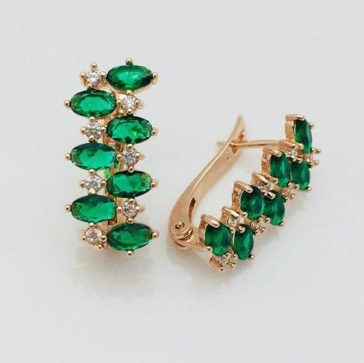 Серьги Fallon Идиллия зеленые позолота 18К