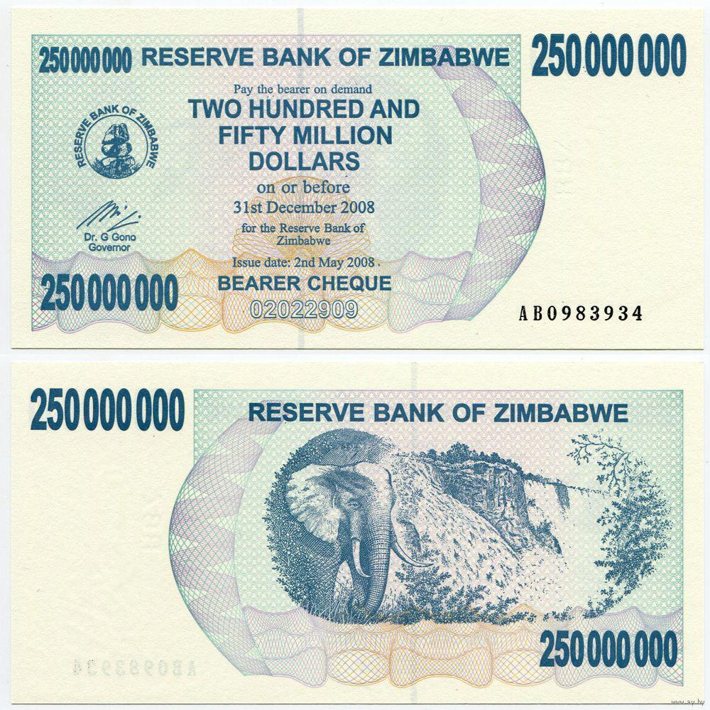 Zimbabwe Зимбабве - 250000000 Dollars 2008 UNC cheque 250 Million