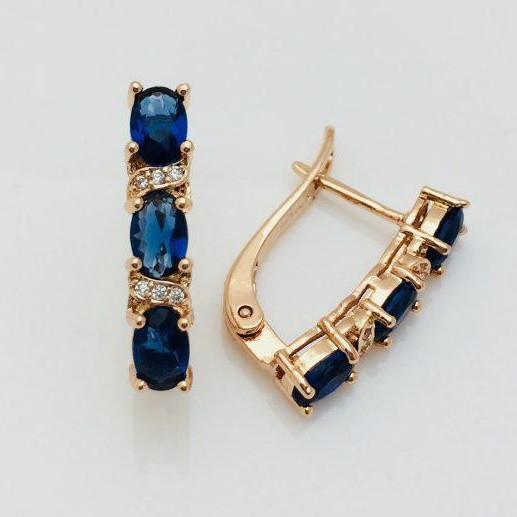 Сережки Fallon Смужка з каменів сині позолота 18К
