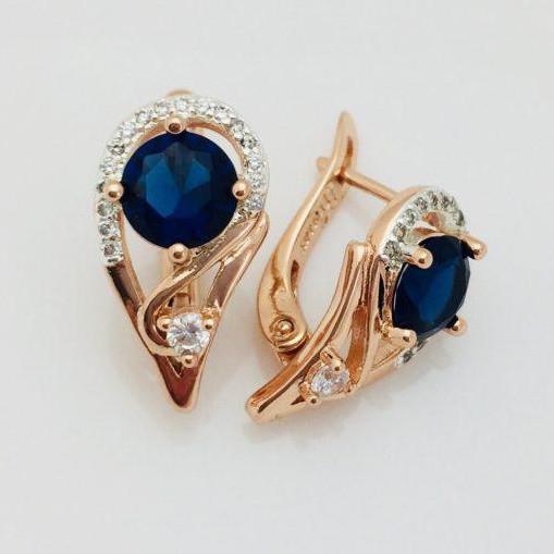 Серьги Fallon Дини  синие позолота 18К