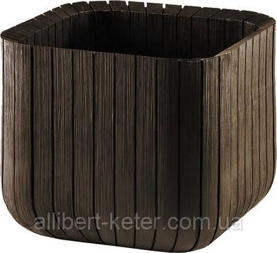 Квітковий горщик CUBE PLANTER L темно-коричневий (Keter)