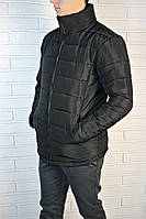 Дутая зимняя мужская куртка без капюшона black