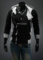 Мужская черная утепленная толстовка с капюшоном