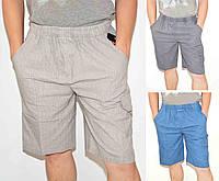 Шорты мужские льняные Бриджи с накладными карманами - лен XL серый