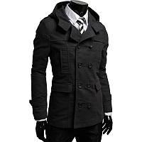 Двубортное черное кашемировое мужское пальто